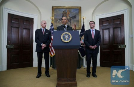 U.S. President Barack Obama (C) discusses administration plans to close the Guantanamo military prison while delivering a statement at the White House in Washington Feb. 23, 2016. [Photo/Xinhua]