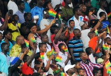 Ghanaian residents attend Ghana's 59 Independence Day celebration at the Independence Square in Accra, capital of Ghana, March 6, 2016. British colony Gold Coast declared her independence on March 6, 1957 and renamed herself Ghana. (Xinhua/Lin Xiaowei)