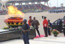 President John Dramani Mahama lighting the Perpetual Flame
