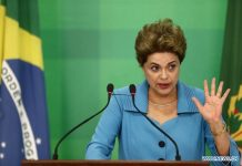 BRASILIA, April 18, 2016 (Xinhua) -- Brazilian President Dilma Rousseff makes a statement at the Planalto Palace in Brasilia, Brazil, on April 18, 2016. The Brazilian Chamber of Deputies, or the lower house of parliament, voted in favor of impeaching President Dilma Rousseff on Sunday. (Xinhua/AGENCIA ESTADO)