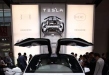 Tesla Model X electric sport-utility vehicle is seen at the Auto China 2016 show, which opened in Beijing on Monday. [Photo/Shanghai Daily]