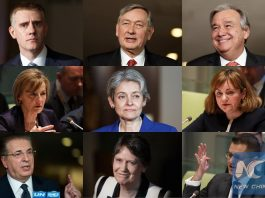 This combination photo shows the candidates for the next United Nations Secretary-General. Upper row from left to right: Igor Luksic, Montenegro's deputy prime minister and foreign minister, Danilo Turk, former president of Slovenia, Antonio Guterres, former prime minister of Portugal and former UN High Commissioner for Refugees. Middle row from left to right: Vesna Pusic, former Croatian foreign minister, Irina Bokova, director-general of United Nations Educational, Scientific and Cultural Organization (UNESCO), Natalia Gherman, former minister of foreign affairs and European integration of Moldova. Bottom row from left to right: Srgjan Kerim, President of the 62th session of the United Nations General Assembly, and former minister of foreign affairs of Macedonia, Helen Clark, former Prime Minister of New Zealand and Administrator of the United Nations Development Programme (UNDP), Vuk Jeremic, President of the 67th session of the United Nations General Assembly, and former Foreign Minister of the Republic of Serbia. (Xinhua/Li Muzi)