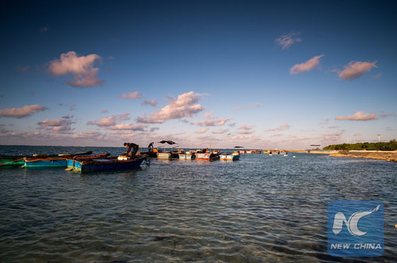 This photo taken on Dec. 11, 2015 shows uniquely beautiful winter scenery of the Zhaoshu Island in the South China Sea. [Xinhua file photo]