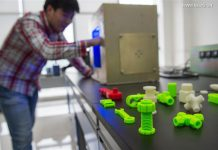 Photo taken on April 19, 2016 shows some space station's components printed by a micro-g 3D printer at a research center in southwest China's Chongqing Municipality, April 19, 2016. The Research Center for Additive Manufacturing (3D Printing) Technology of Chongqing Institute of Green and Intelligent Technology announced on Tuesday that the first micro-g 3D printer was successfully developed. [Photo: Xinhua/Liu Chan]