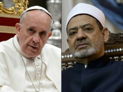 AFP/File / Kenzo Tribouillard, Filippo Monteforte Pope Francis (left) is to receive the spiritual leader of the world's Sunni Muslims, Sheikh Ahmed al-Tayeb (right), at the Vatican