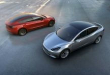 TESLA MOTORS/AFP/File / STR A handout photo provided on April 1, 2016 by Tesla Motors shows the car manufacturer's new Model 3 which was unveiled on March 31, and is scheduled to hit the market late next year