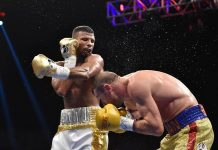 Badou Jack of Sweden (L) swings at Lucian Bute of Canada during their WBC Super Middleweight Championship boxing match in Washington, DC (AFP Photo/David Tulis)