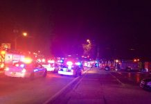 Photo provided by Orlando Police Department shows police cars and fire trucks gather outside the Pulse nightclub in Orlando, Florida, the United States, June 12, 2016. About 20 people were killed and 42 others wounded early Sunday morning in a shooting incident at a gay nightclub in Orlando, Florida said local police. (Xinhua/Orlando Police Department) (djj)