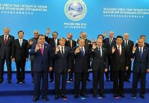 "The ""family photo"" of SCO leaders, taken at the 2015 summit in Ufa, Russia. Image Credit: Flickr/ MEAphotogallery"