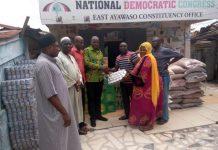 Alhaji Naser Mahama Toure, East Ayawaso MP presenting the items to Alhaji Williams Olabodi, Chairman of the Constituency.