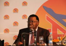 Namibian President Hage Geingob addresses at the inauguration ceremony of the Walvis Bay International Airport new Terminal Building at Walvis Bay, Namibia, on July 22, 2016. The airport's new building was built by Chinese construction company, New Era Investments at a cost of about 900 million Namibian dollars (62 million U.S. dollars) and now is able to handle a sustained passenger flow of 200 passengers per hour catering for one-million passengers per annum. Walvis Bay International Airport is the busiest airport at Namibia's coastline. (Xinhua/Wu Changwei)