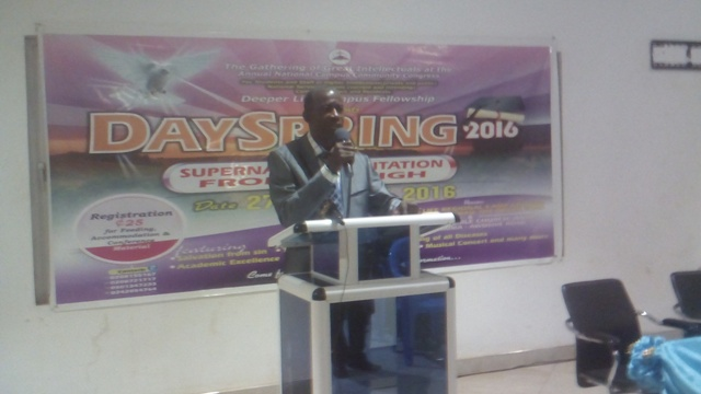 Pastor Francis Fosu, National Coordinator of the Deeper Life Campus Fellowship, speaking at the media launch.