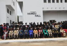 Vice President Amissah-Arthur in a group photograph with the country's military chiefs, staff and students of the GAFCSC.