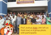 Prof Joshua Alabi (4th left on front row) in a group photo with participants and dignitaries at the workshop