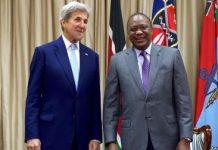 US Secretary of State John Kerry with Kenyan President Uhuru Kenyatta