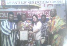 CEO of Aboboyaa Company ltd, Mr. Gideon Seidu, first from left, receiving his award.