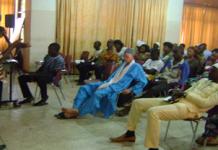 The Programmes Manager of DRAC, Mr Aberinga Milton, facilitating the fourth session of the SPEFA groups forum in Bolgatanga