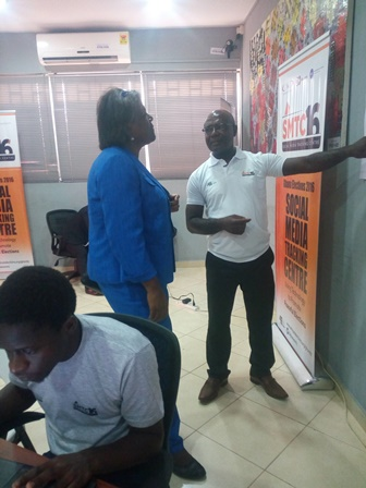 Thomas-Greenfield and Ahiabenu II at the social tracking centre