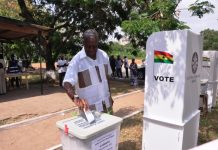 Vice President Amissah-Arthur going through the electoral process and casting his vote at the Accra High School polling station.