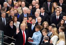 U.S. President Donald Trump(1st L, front row) takes the oath of office during the presidential inauguration ceremony at the U.S. Capitol in Washington D.C., the United States, on Jan. 20, 2017. Donald Trump was sworn in on Friday as the 45th President of the United States. (Xinhua/Yin Bogu)