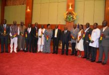 President Akufo-Addo with the second batch of twelve ministers sworn into office on Tuesday, February 7, 2017