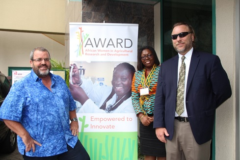 USAID/Ghana Mission Director, Andrew Karas (left); Economic Growth Program Management Specialist & Budget Coordinator, Susana Bonney (center); and Economic Growth Office Director, Kevin Sharp (right) at the Gender in Agribusiness Investments in Africa competition, an initiative by Feed the Future's African Women in Agricultural Research and Development project. Photo credit: Priscilla Addison, USAID/Ghana