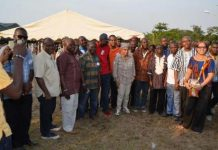 President Ellen Johnson-Sirleaf posed with government officials in Julijuah, Bomi County