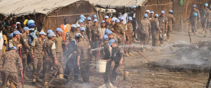 Various components of UNMISS and humanitarian actors were involved in putting out fires and assisting affected internally displaced persons in the Bentiu PoC site.