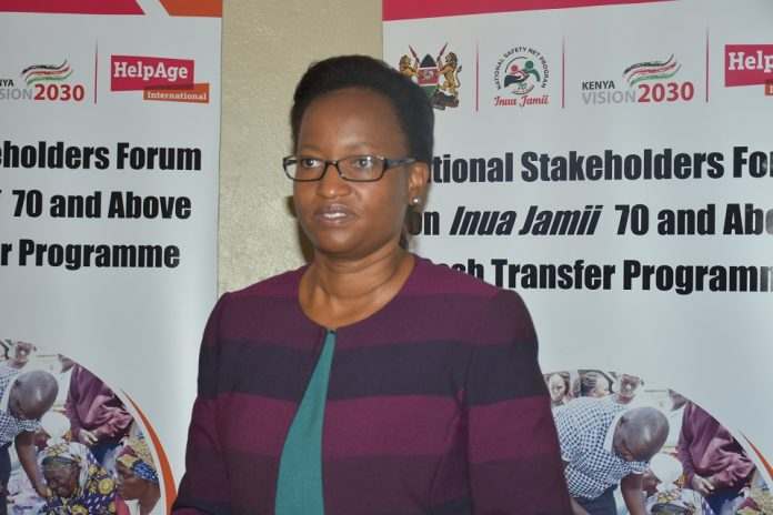 Susan Mochache, Principal Secretary, Ministry of Labour, East Africa Community and Social Protection addressing participants at the Forum this morning.