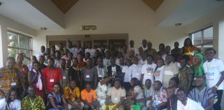 Participants in a group picture at the 5th National Basic Sanitation Forum in Kumasi, Ashanti Region