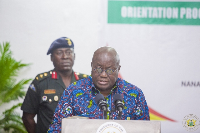 President Akufo-Addo delivering his speech at the MMDCE Orientation
