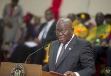 President Akufo-Addo delivering a speech at the graduation ceremony