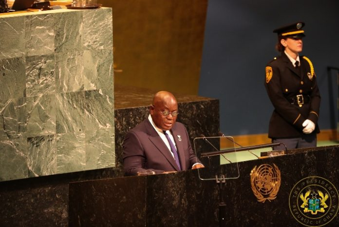 President Akufo-Addo speaking at the UN General Assembly