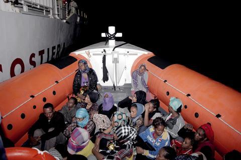 Italian Coast Guard rescues migrants and refugees bound for Italy. © IOM/Francesco Malavolta 2014