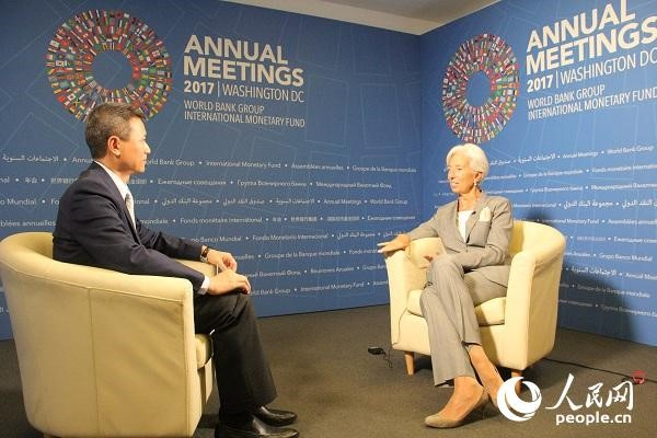 IMF Managing Director Christine Lagarde has an interview with People's Daily. (Photo by Wu Lejun from People's Daily)