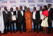 GOIL Management Team headed by Mr Akorli in a Group photograph after receiving the award