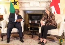 Akufo-Addo and May met to strengthen the ties of co-operation between the two countries, and move the bilateral relations to a point beyond aid, according to a statement from the Presidency of Ghana.