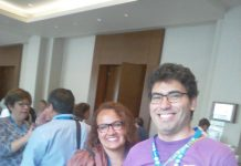 Herman Jimenez, Board Chair of AFS Chile (in purple T-Shirt), with some of the delegates.