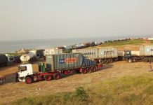 Vehicles in queue at Yeji