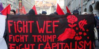 World Economic Forum protest against Trump, Jan. 2018