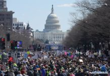 """People take part in the """"March for Our Lives"""" rally in Washington D.C., the United States, on March 24, 2018. Hundreds of thousands of people gathered at Pennsylvania Avenue in Washington D.C. on Saturday for the """"March for Our Lives"""" gun control rally, demanding the end of gun violence and mass school shootings. (Xinhua/Yang Chenglin)"""