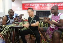 Students from the Central African Republic learn bamboo weaving from a teacher in an international town of bamboo craftsmanship in Qingshen county, Meishan city, southwest China's Sichuan province, Aug. 3, 2017. (Photo from Yao Yongliang from CFP)