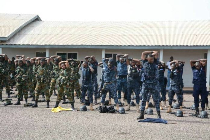 soldiers and police officers matching
