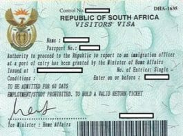 visit visa south africa
