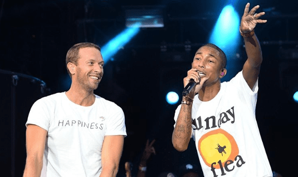Chris Martin and Pharrell Williams/ Instagram (Kevin Mazur/Getty Images for Global Citizen)