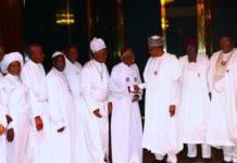 PRESIDENT BUHARI RECEIVES CHERUBIM AND SERAPHIM DELEGATION 5. R-L; Minister of Interior Lt Gen Abdulrahman Dambazzau, Chief of Staff, Mallam Abba Kyari,, President Muhammadu Buhari, Leader of the Delegation, His Most Eminence Prophet Dr Solomon Alao, His Eminence Reuben O. Basorun, Special Apostle Dr T. J Odedele, Supt Apostle Emmanuel Owomoyela and Her Eminence Dr Marian Adeleye during a courtesy visit at the State House Abuja. PHOTO; SUNDAY AGHAEZE. JAN 4 2019