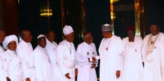 PRESIDENT BUHARI RECEIVES CHERUBIM AND SERAPHIM DELEGATION 5. R-L; Minister of Interior Lt Gen Abdulrahman Dambazzau, Chief of Staff, Mallam Abba Kyari,, President Muhammadu Buhari, Leader of the Delegation, His Most Eminence Prophet Dr Solomon Alao, His Eminence Reuben O. Basorun, Special Apostle Dr T. J Odedele, Supt Apostle Emmanuel Owomoyela and Her Eminence Dr Marian Adeleye during a courtesy visit at the State House Abuja. PHOTO; SUNDAY AGHAEZE. JAN 4 2019