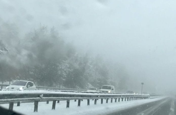 The highway between Athens and Lamia, a few kilometers outside of the town of Malakasa, on Thursday afternoon.