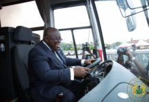 President Akufo Addo behind the wheels of one of the Ankai buses