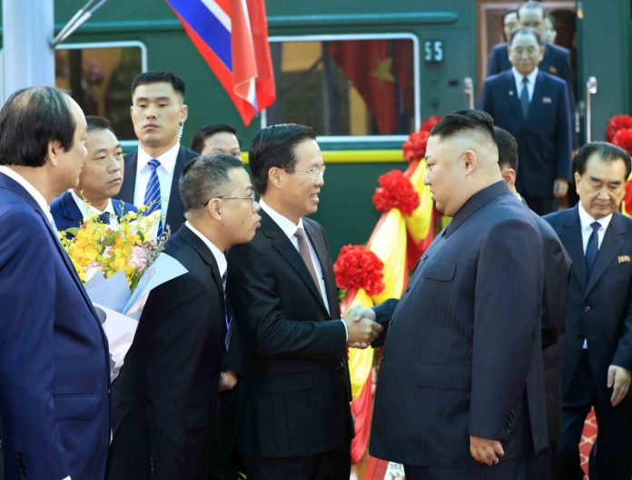 In this photo provided by Vietnam News Agency, top leader of the Democratic People's Republic of Korea (DPRK) Kim Jong Un (R F) arrives at Dong Dang railway station in Lang Son Province, Vietnam, on Feb. 26, 2019. Kim arrived in Vietnam Tuesday morning by train for his first official visit to the country and the second summit with U.S. President Donald Trump, Vietnam News Agency reported. (Xinhua)